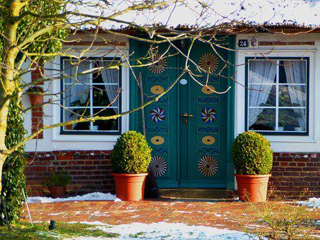Winter, Old Country, Door, Farmhouse, Land