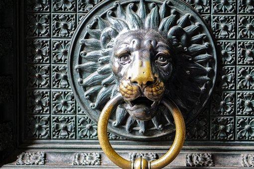 Door, Lion Head, Lion, Door Knob, Metal, Input, Handle