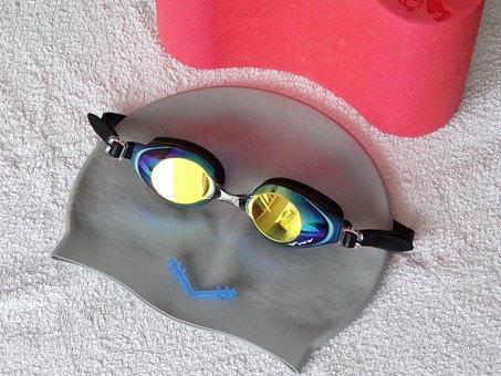 Bathing Cap, Swim Goggles, Ear Plugs, Bath Towel