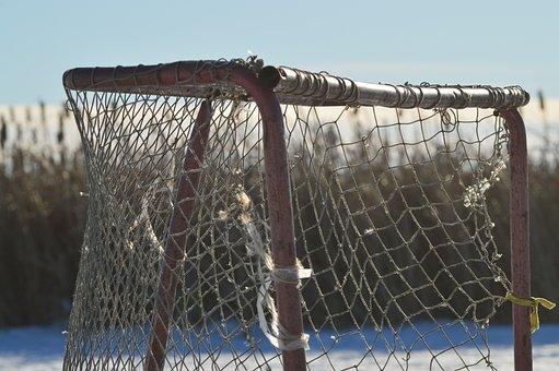 Hockey Net, Ice, Pond, Sports, Winter, Outdoors, Frozen