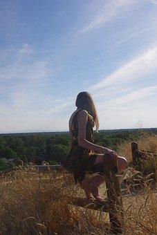 Teen, Girl, Future, Fence, Ambivalent, Uncertain