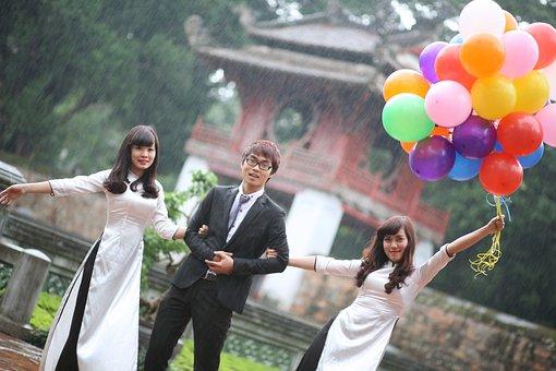Friendship, Girls, Asian, Balloons, Woman, Happy, Asia