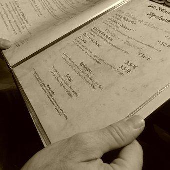 Menu, Beverage List, Local, Restaurant, Hand, Read