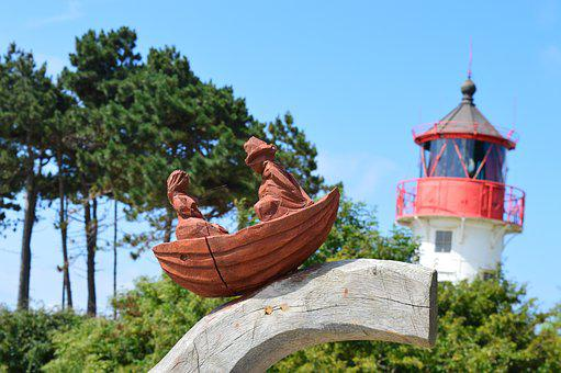 Hiddensee, Lighthouse, Holzfigur, Fischer Un Sin Fru