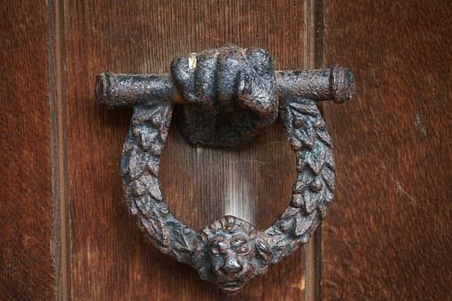 Door, Wood, Iron, Doorknocker, Old, Home, Input