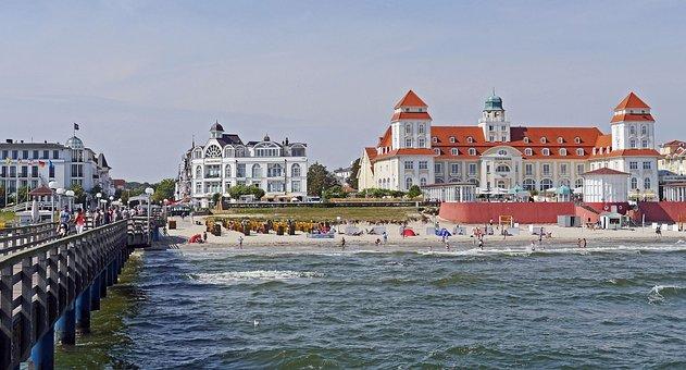 Binz, Rügen, Kurhaus, Sea Bridge, Beach, Baltic Sea