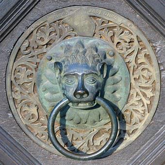 Doorknocker, Old Door Handle, Lion Head, Metal, Handle