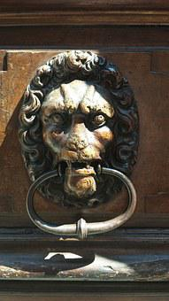 Door, Knocker, Lion, Laberinth, Wooden, Old, Metal