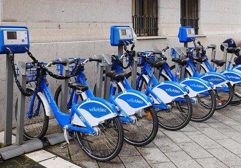 Velo Bleu, Rental Bikes, Rental Station, Machines