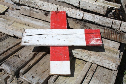 Barrier, Battens, Wood, Timber, Red, White, Mark