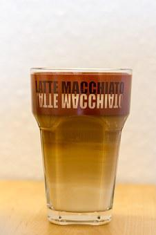 Latte Macchiato, Coffee, Glass, Drink, Milchschaum