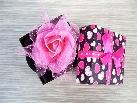 Box, Rose, Gift, Elastic Hair, Ornament, Color, Pink