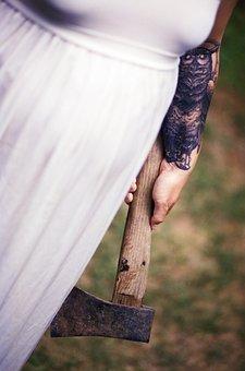 White Dress, Axe, Tattoo, Horror, Scary, White, Weapon