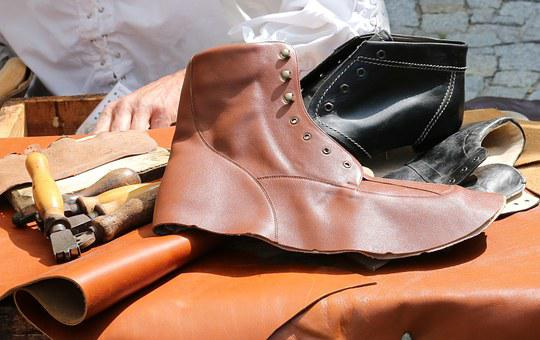 Shoemaker, Middle Ages, Leather, Shoes, Boots