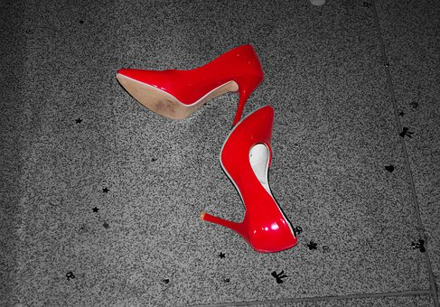 Shoes, Boots, Red, Lost, Background, Women, Style