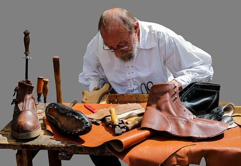 Shoemaker, Middle Ages, Leather, Shoes, Boots, Isolated