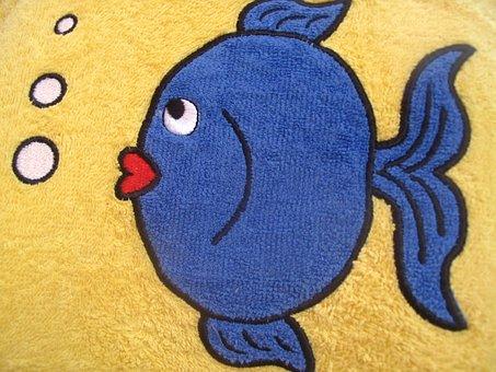 Fish, Small, Blue, Bath Rug, Towel, Bubbling Bubbles