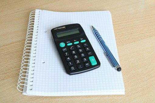 Calculator, Block, Pen, Solar Calculator, White