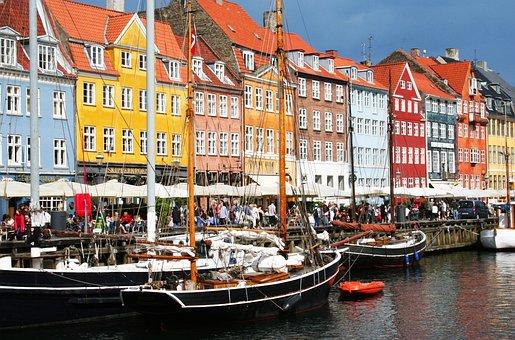 Copenhagen, Nyhavn, Channel, Summer, Spring, Both Cafe