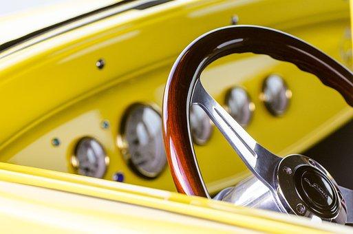 Steering Wheel, Classic Car, Hot Rod, Muscle Car, Dials