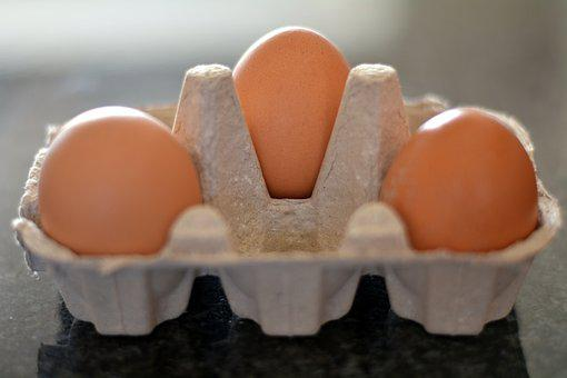 Three Eggs, Container, Food