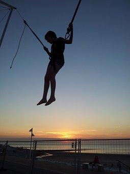 Woman, Sport, Belt, Trampoline, Jumping On A Trampoline