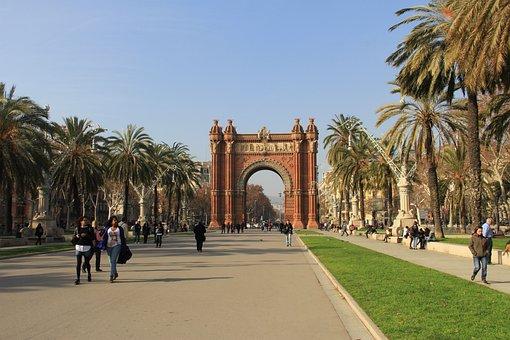 Spain, Barcelona, Triumphal Arch, Winter, Building
