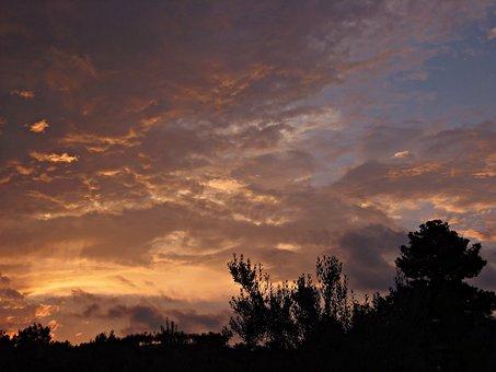Sunset, Violet Tones, Landscape, Evening Clouds, Shades