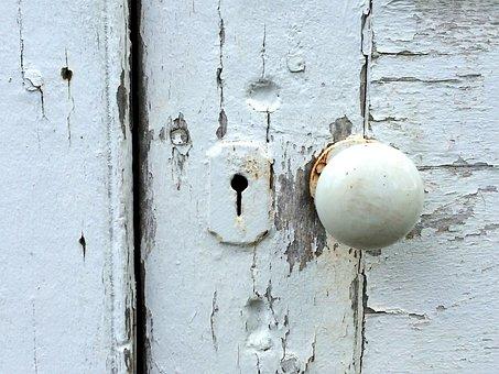 Door Knob, Peeling Paint, Lock, Weathered, Wood