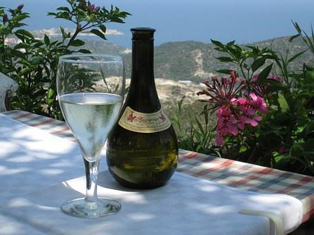 Wine, Retsina, Greece, Glass, Bottle, View, Flowers