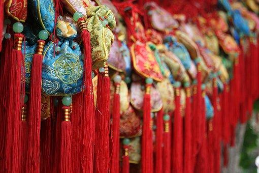 Wish Tree, Wish, Tree, Red, China, Chengdu, People