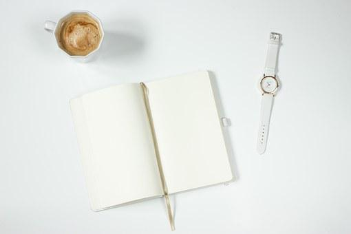 Coffee, Notebook, Watch, Work Desk