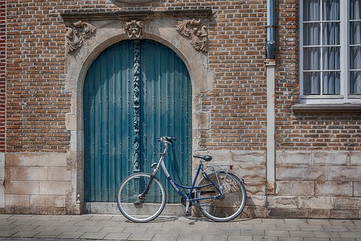 Bicycle, Wall, Brick, City, Building, House, Urban