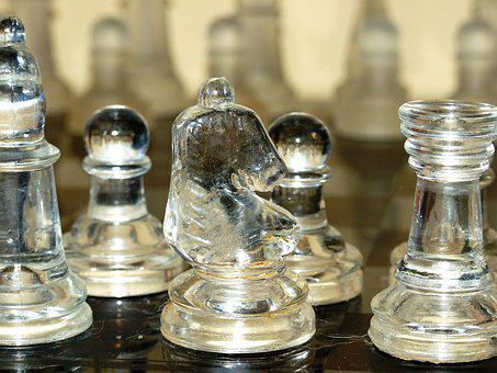 Chess, Chess Set, Chess Pieces, Knight, Glass, Pieces