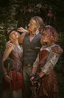 Steampunk, Company, A Man With Two Women