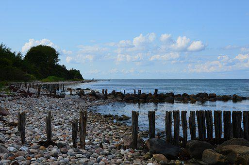 Beach, Wooden Posts, Stones, Baltic Sea, Denmark, Sea