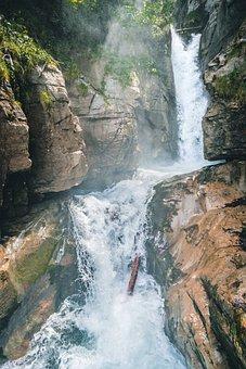 Giessbach Falls, Switzerland, Sunbeam, Lighting