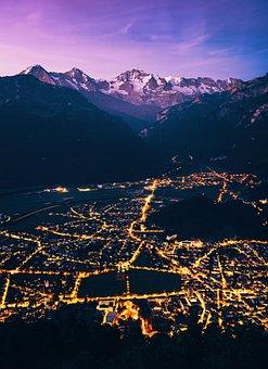 Interlaken, Night, Lights, City, Long Exposure