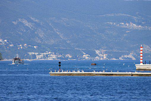 Montenegro, Lighthouse, Sea, Marina, Tivat, Panoramic