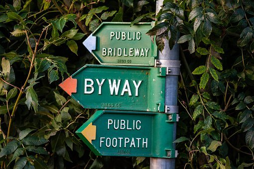 Rural Sign, Bridleway, Byway Sign, Public Footpath Sign