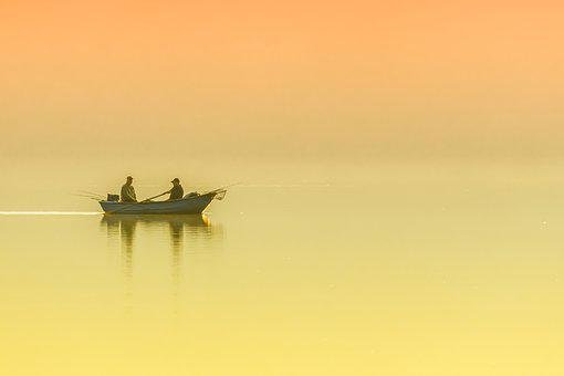 Landscape, Lake, Morning, Sunrise, Boat, Angler, Rest