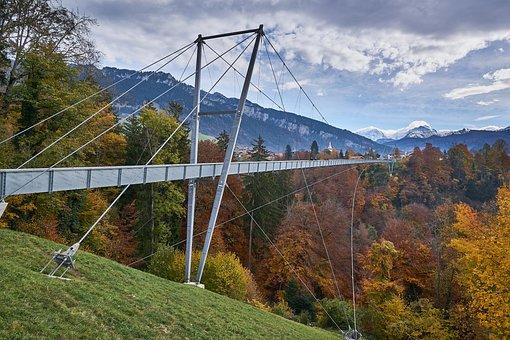 Suspension Bridge, Sigriswil, Pedestrian, Alps