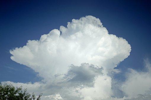 Cloud, White, Sky, Storm, Blue, Mountain, Nature