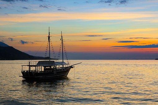 Boat, Sunset, Mar, Lioral, Ocean