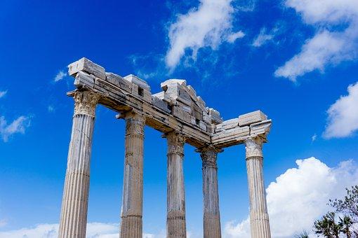 Turkey, Side, Temple, Sky, Landscape, Clouds