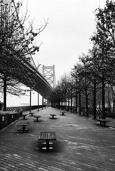 Philadelphia, Bridge, Waterfront, River, City, Urban