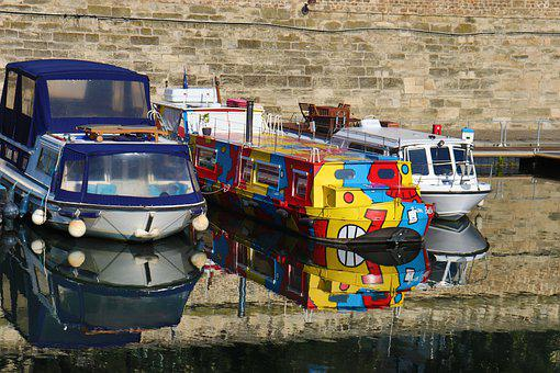 Barges, Boats, Channel, Water, River, Navigation, Port
