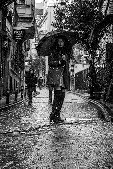 Woman, Girl, Portre, Umbrella, Snows, Istanbul, Alone