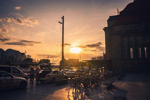 Leipzig, Railway Station, Taxi, Architecture, Shopping