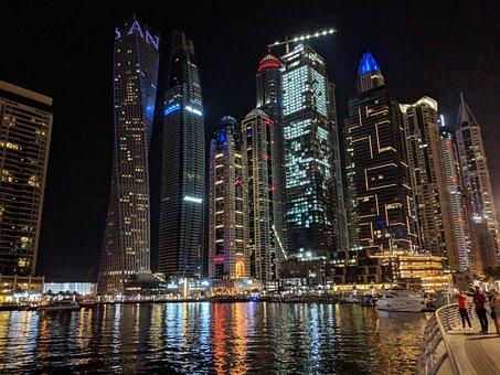 Uae, Dubai, Emirates, City, Night, Travel, Cityscape